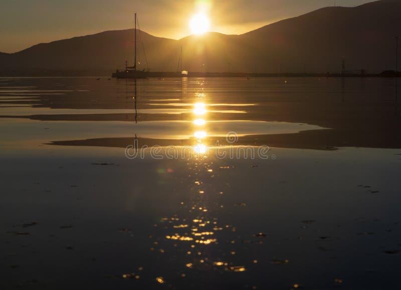 Beautiful sunset on the calm Aegean Sea on the island of Evia, Greece royalty free stock photography