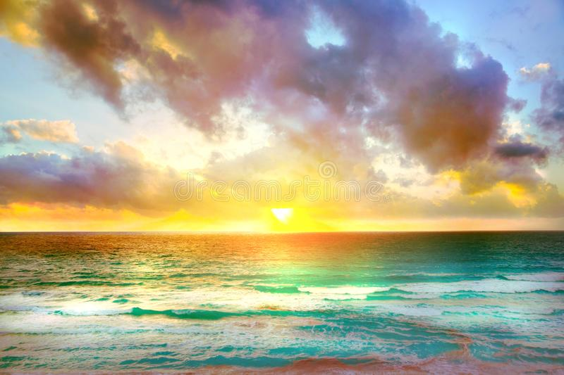 Beautiful sunset in Cancun, Mexico. Nature and ocean. Sunset for background stock photography