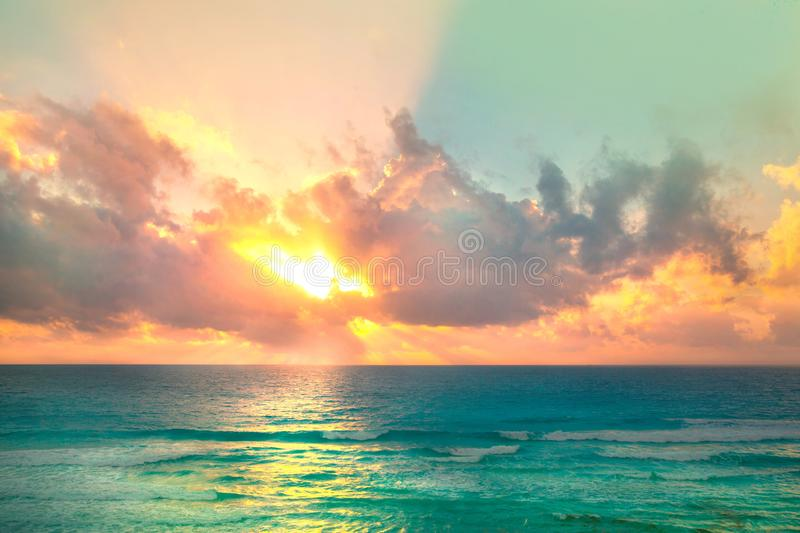 Beautiful sunset in Cancun, Mexico. Nature and ocean. Sunset for background royalty free stock photo