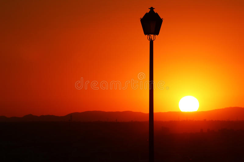 Beautiful sunset in the city stock images