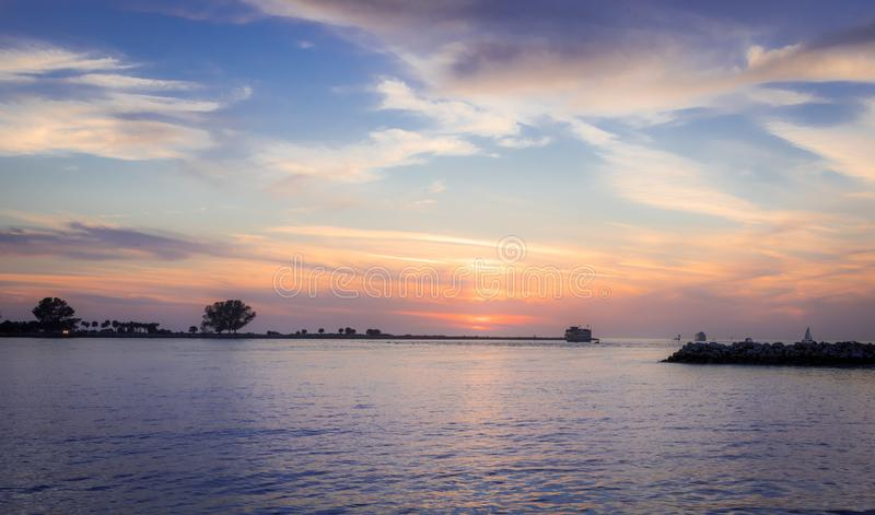 Beautiful sunset in clearwater beach. With blue and orange colors royalty free stock images