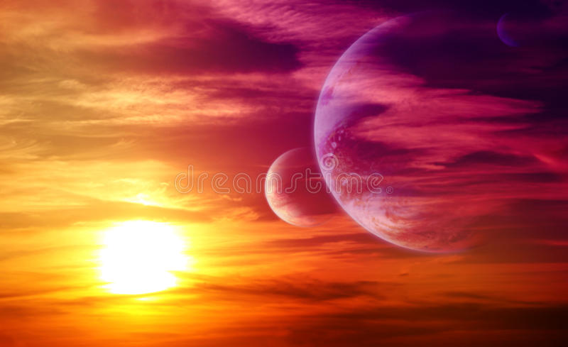 Beautiful sunset, cloud and planets royalty free stock photos
