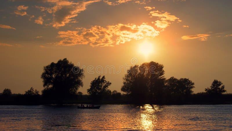 Danube River. Beautiful sunset landscape - Danube Delta, landmark attraction in Romania stock photos