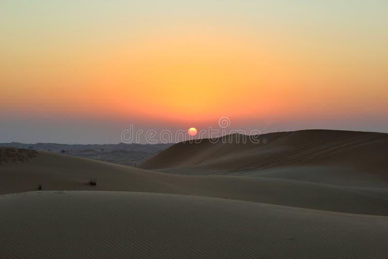 Beautiful Sunset in Desert royalty free stock photos