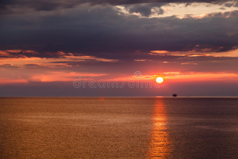 Beautiful Sunset and Dramatic Red Sky near Genoa. In Italy royalty free stock photo