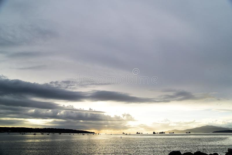 The beautiful sunset at the English bay Vancouver. royalty free stock image