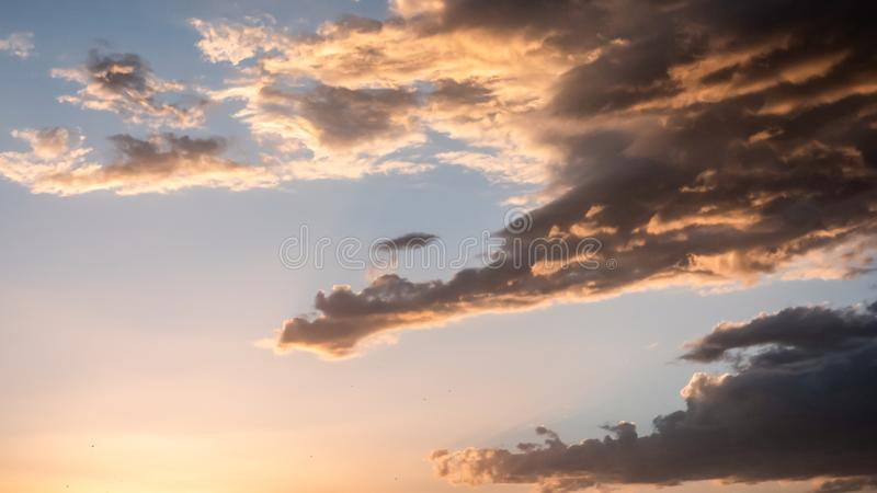 Beautiful sunset with golden sky cloud stock images