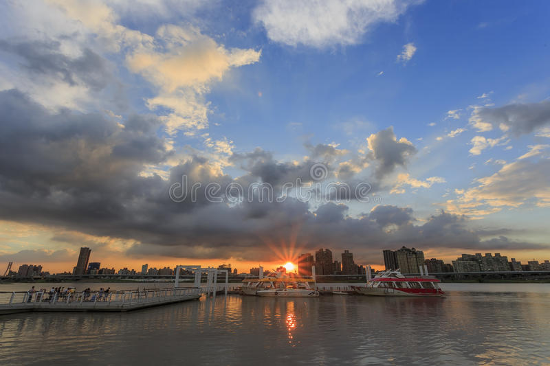 Beautiful sunset with great clouds in Taipei stock image