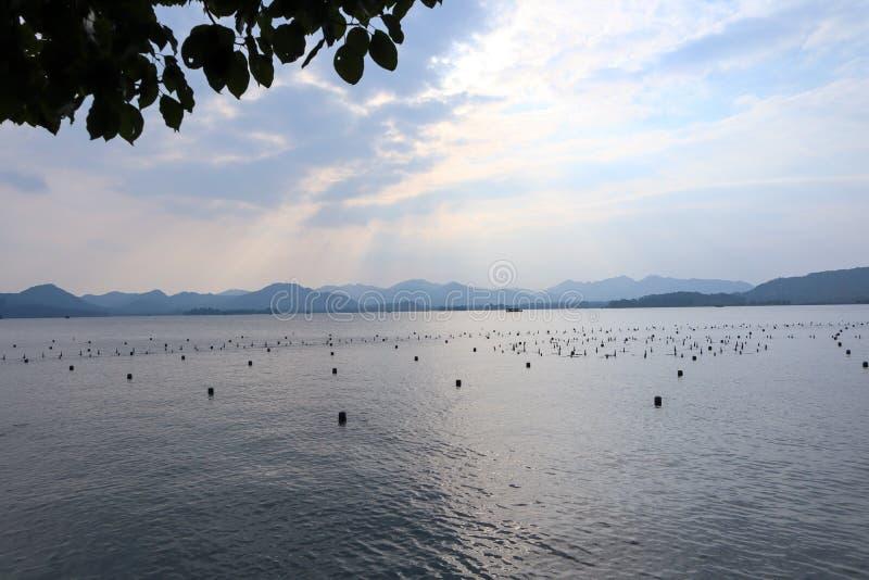 Beautiful sunset in Hangzhou city, area west lake royalty free stock image