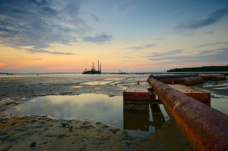 Beautiful sunset at kampung baru nelayan,  tumpat kelantan malaysia. Beautiful sunset kampung baru nelayan tumpat kelantan malaysia stock photo