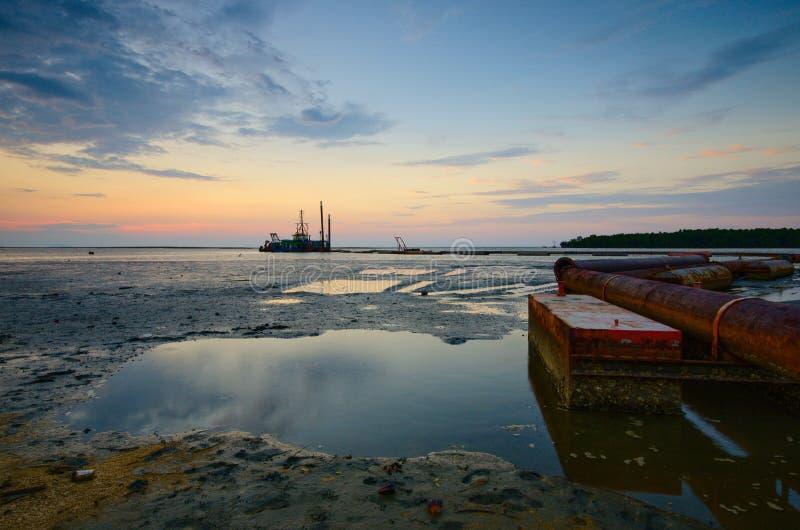 Beautiful sunset at kampung baru nelayan,  tumpat kelantan malaysia. Beautiful sunset kampung baru nelayan tumpat kelantan malaysia stock images