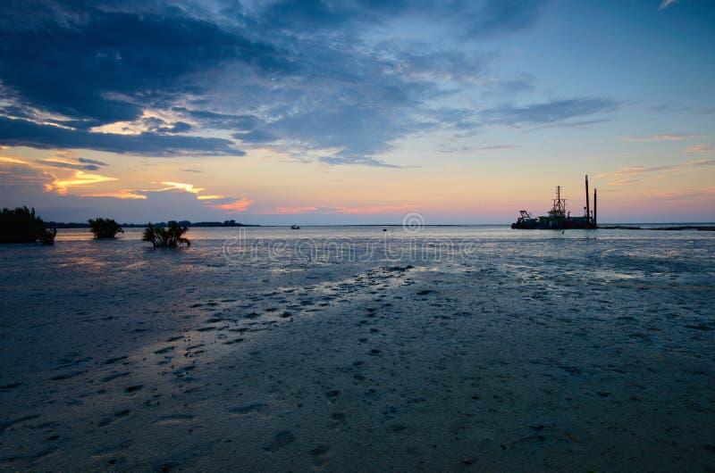 Beautiful sunset at kampung baru nelayan,  tumpat kelantan malaysia. Beautiful sunset kampung baru nelayan tumpat kelantan malaysia stock image