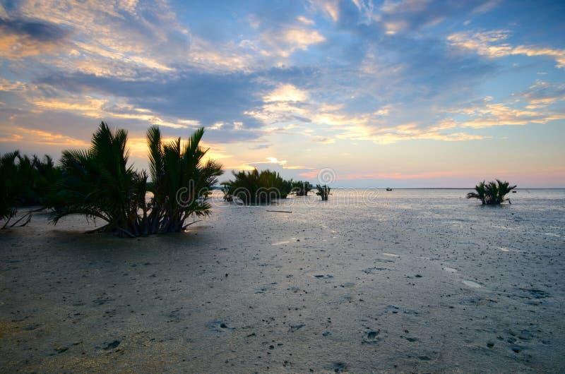 Beautiful sunset at kampung baru nelayan,  tumpat kelantan malaysia. Beautiful sunset kampung baru nelayan tumpat kelantan malaysia royalty free stock photos