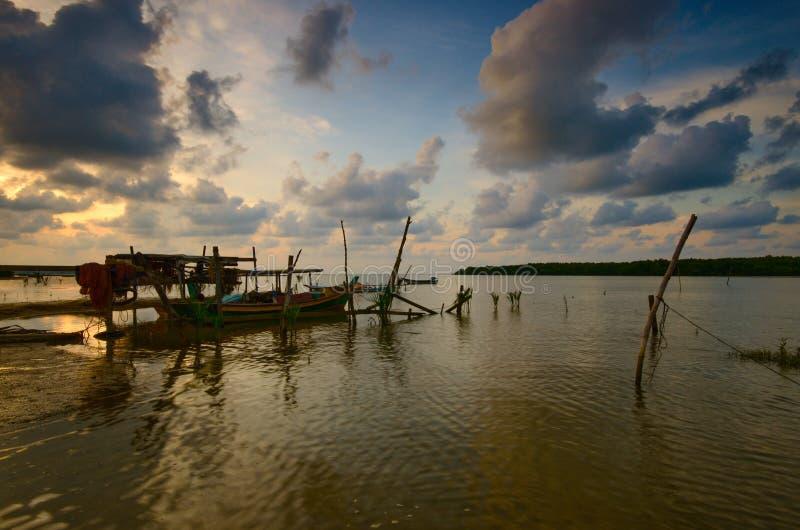 Beautiful Sunset at kampung baru nelayan, tumpat kelantan malaysia. Beautiful sunset kampung baru nelayan tumpat kelantan malaysia royalty free stock photography