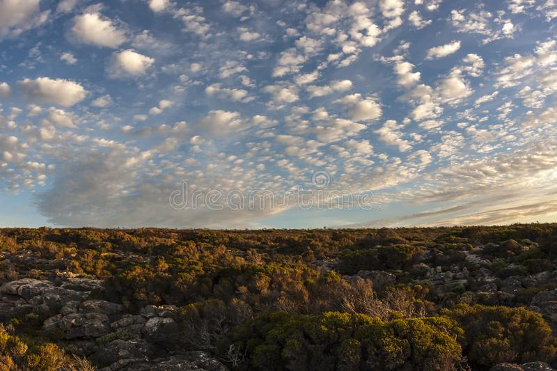 Beautiful sunset on Kangaroo Island, South Australia. There are many small clouds in the sky royalty free stock photography