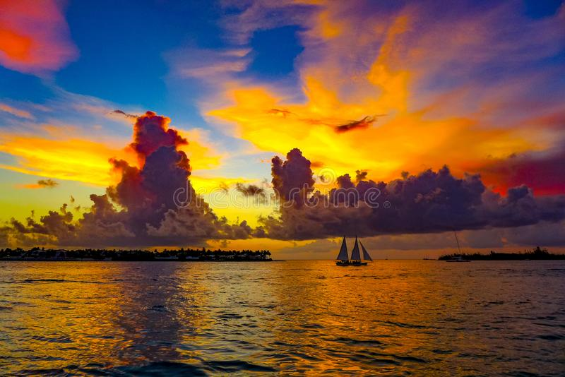 beautiful sunset in Key West stock image