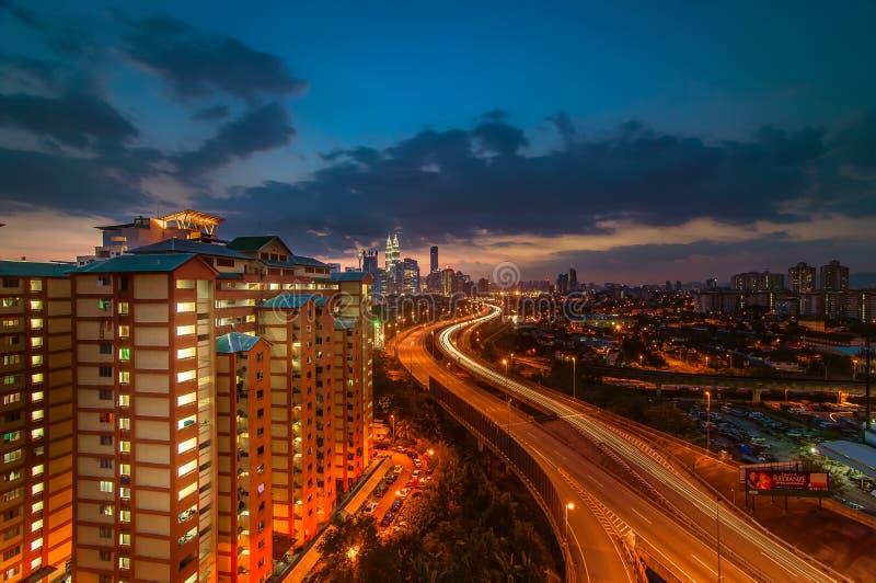 Beautiful sunset at Kuala Lumpur stock images