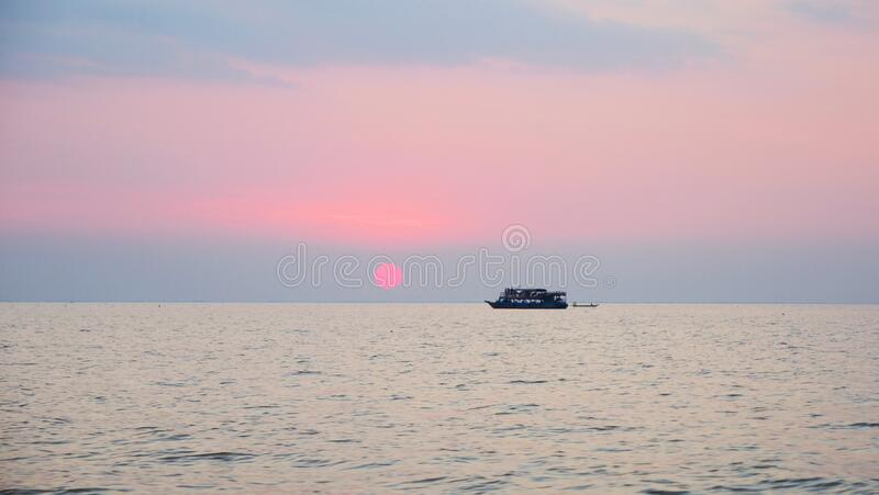Beautiful sunset landscape view of Tonle Sap lake in Siem Reap, Cambodia.  royalty free stock photos