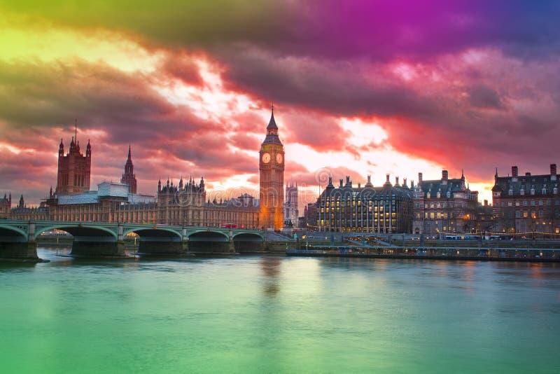 Beautiful sunset in London city stock photos