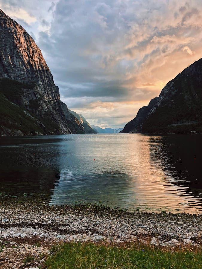 Beautiful Sunset at Lysebotn Lysefjord, Norway royalty free stock photography