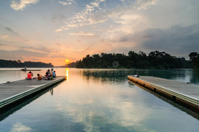 Beautiful sunset at MacRitchie Reservoir. Singapore, 31 Mar 2018: Beautiful sunset at MacRitchie Reservoir which is Singapore`s oldest reservoir completed in stock photo