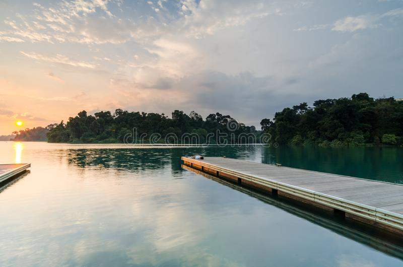 Beautiful sunset at MacRitchie Reservoir. Singapore, 31 Mar 2018: Beautiful sunset at MacRitchie Reservoir which is Singapore`s oldest reservoir completed in royalty free stock photo