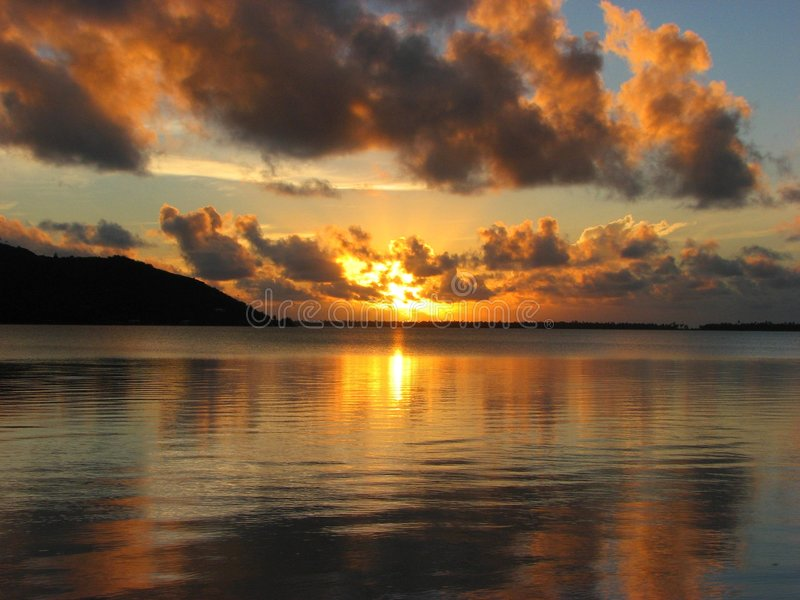 Beautiful sunset in Maupiti, French Polynesia royalty free stock image
