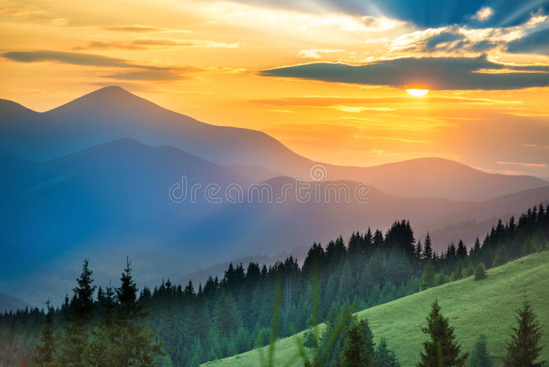 Beautiful sunset in the mountains stock photo