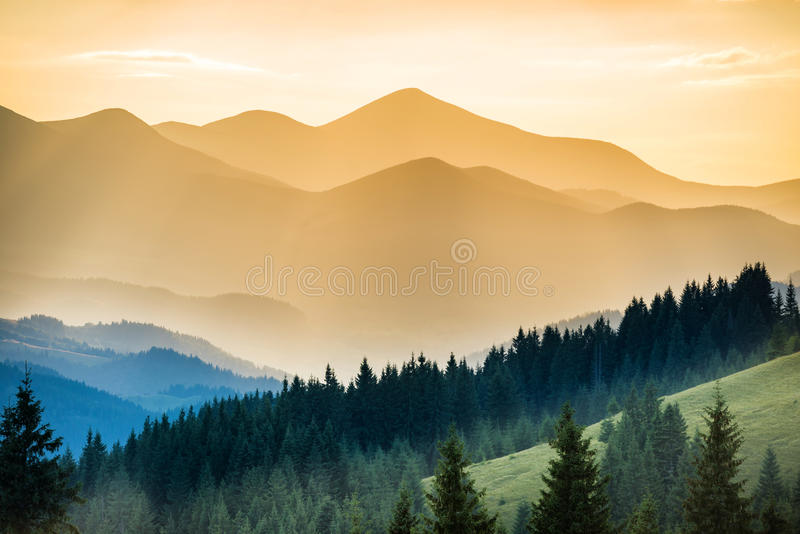 Beautiful sunset in the mountains royalty free stock photo