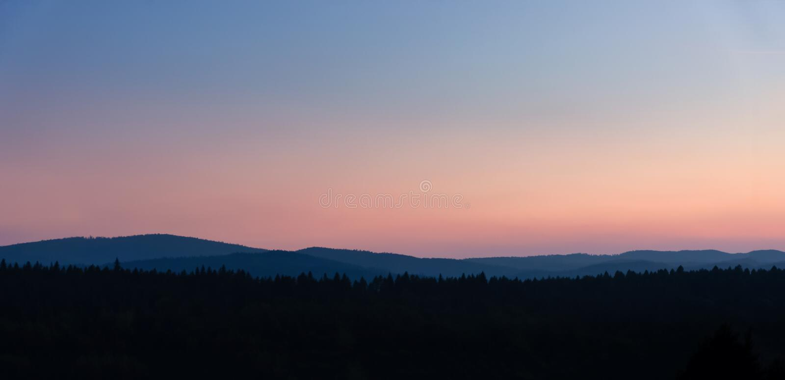 Beautiful sunset in the mountains stock photography