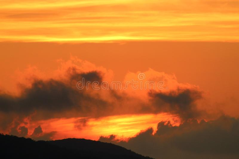 The beautiful sunset in the mountains. Today it was a sunny day with later in the afternoon a nice sunset. This sunset is in the mountains in Fosdinovo in Italy royalty free stock photography