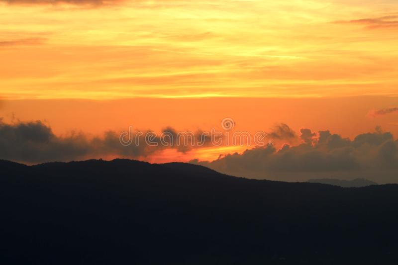 The beautiful sunset in the mountains. Today it was a sunny day with later in the afternoon a nice sunset. This sunset is in the mountains in Fosdinovo in Italy royalty free stock images