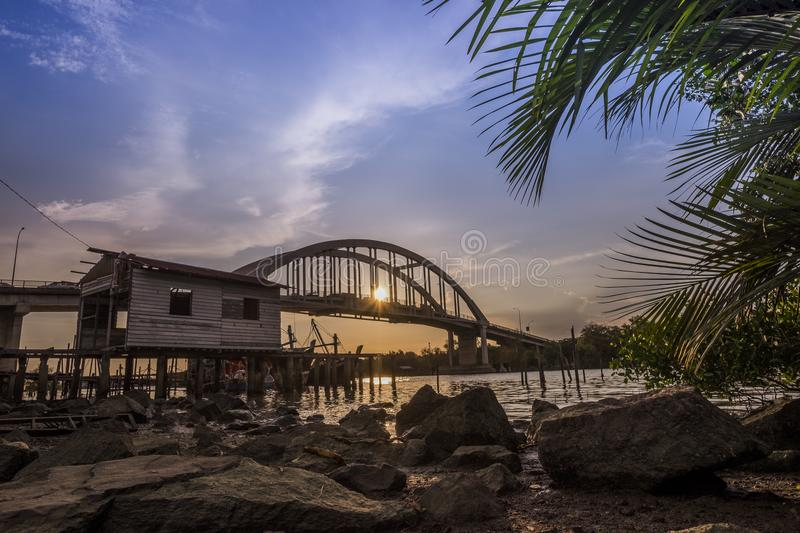 Beautiful sunset near Kedah River Malaysia where all the fisherman live. royalty free stock image