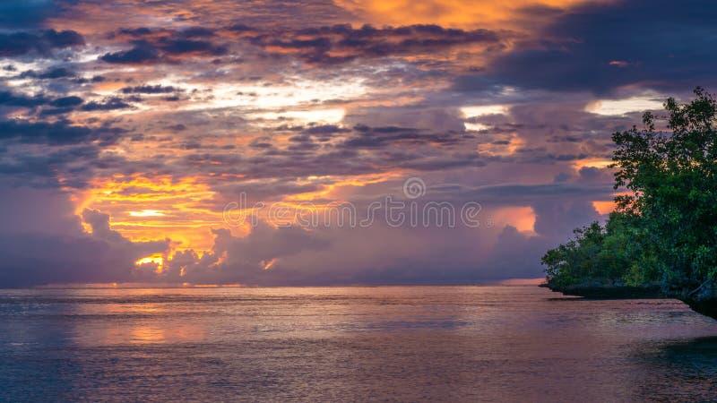 Beautiful Sunset near Kordiris Homestay, Gam Island, West Papuan, Raja Ampat, Indonesia. Beautiful Sunset near Kordiris Homestay, Gam Island, West Papuan, Raja royalty free stock images