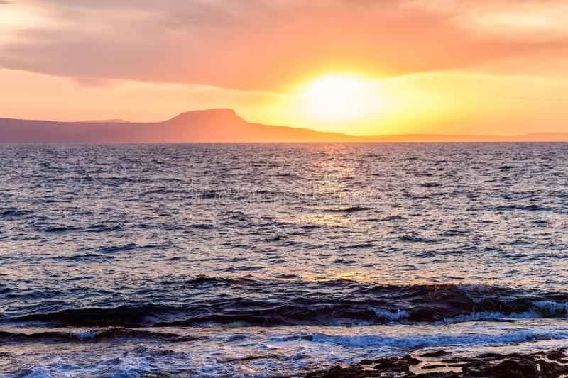 Beautiful sunset near the sea in Rethymno town, Crete island, Greece.  stock photos