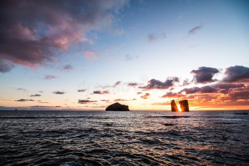 Beautiful sunset near volcanic rocks of Mosteiros beach, Sao Miguel, Azores stock image