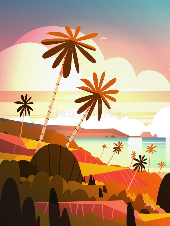 Beautiful Sunset On Ocean, Tropical Landscape Summer Seaside Beach With Palm Tree royalty free illustration