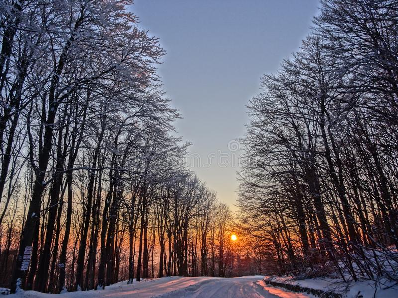 Beautiful sunset in an old mountain royalty free stock photography