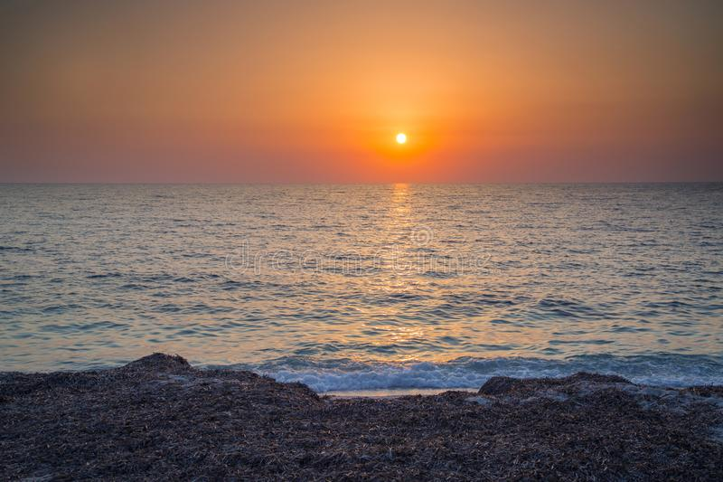 Beautiful sunset at sea in sicily stock photo