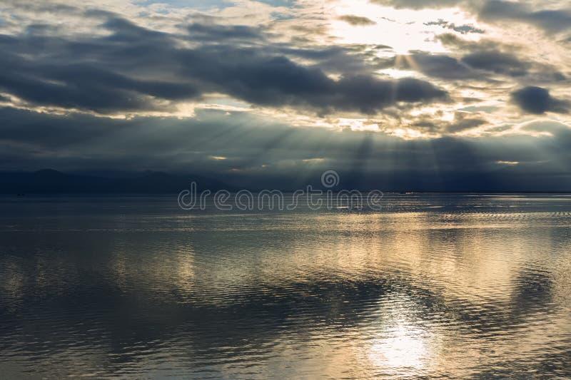 Beautiful sunset over Avacha Bay of Petropavlovsk-Kamchatsky. Beautiful sunset over the Avacha Bay of Petropavlovsk-Kamchatsky royalty free stock photo