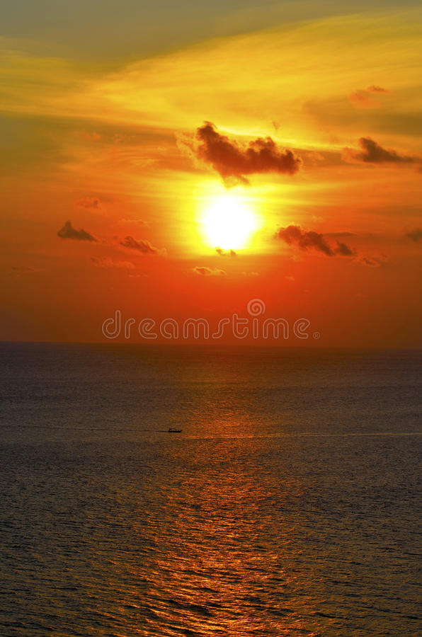 Beautiful sunset over the Bali sea stock photo