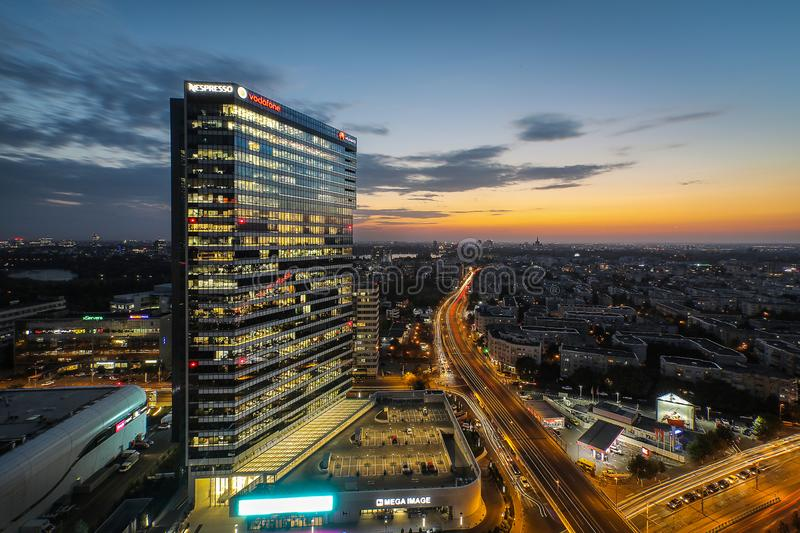 Beautiful sunset over Bucharest Financial Offices stock image