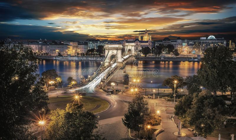 Beautiful sunset over the capital city of Hungary, Budapest. Aerial view with the Danube river, Chain Bridge and the royalty free stock photos