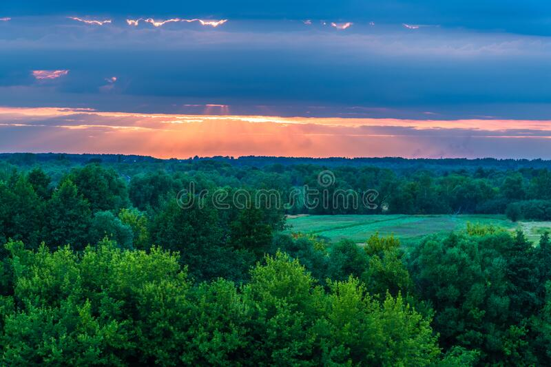 The Beautiful sunset over the countryside in summer. Beautiful sunset over the countryside stock images