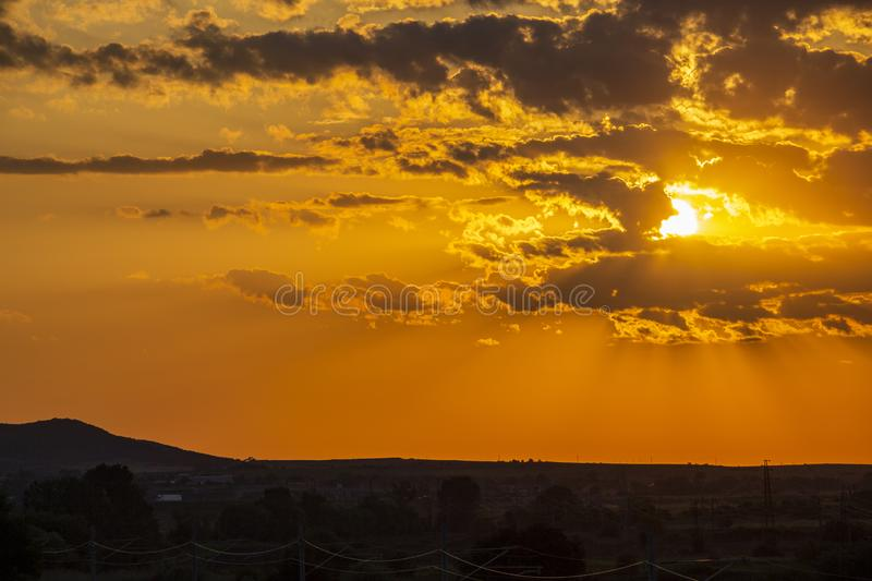 Beautiful sunset over empty railway tracks. Beautiful summer sunset over empty railway tracks near Krum, Southern Bulgaria, elevated view from a bridge royalty free stock photos