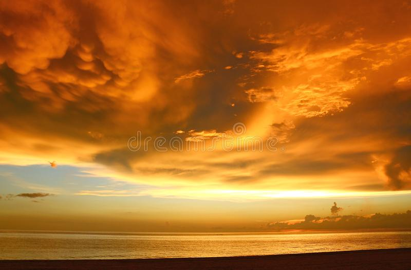 Amazing sunset over the Gulf of Mexico stock photo