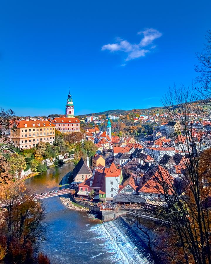 Beautiful sunset over historic centre of Chesky Krumlov old town in the South Bohemian Region of the Czech Republic on Vltava. Beautiful sunset over historientre stock photography