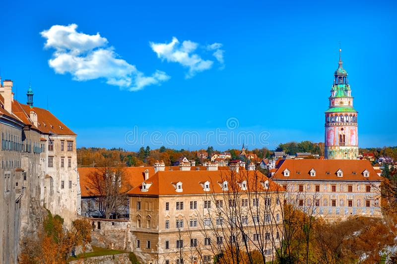 Beautiful sunset over historic centre of Chesky Krumlov old town in the South Bohemian Region of the Czech Republic on Vltava. Beautiful sunset over historientre royalty free stock photos