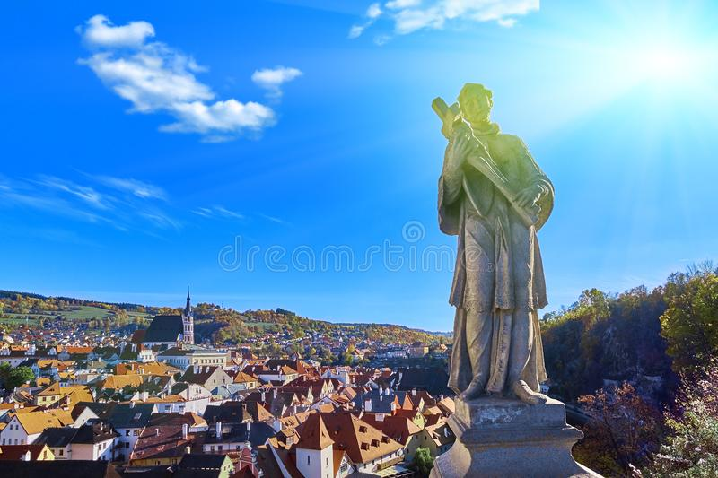 Beautiful sunset over historic centre of Chesky Krumlov old town in the South Bohemian Region of the Czech Republic on Vltava. Beautiful sunset over historientre stock photos