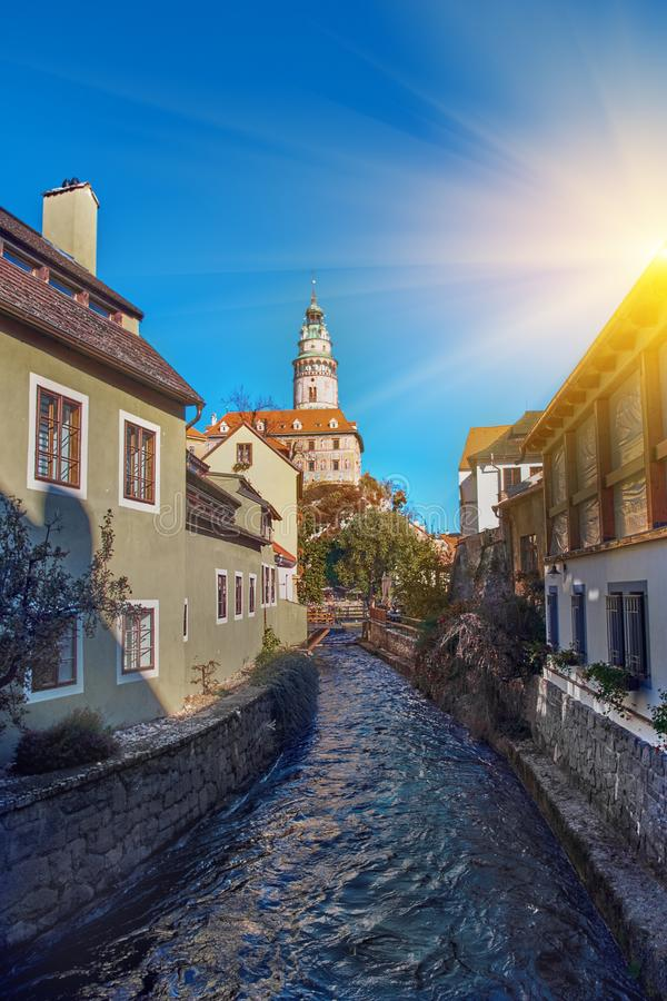 Beautiful sunset over historic centre of Chesky Krumlov old town in the South Bohemian Region of the Czech Republic on Vltava. River. UNESCO World Heritage Site stock photography